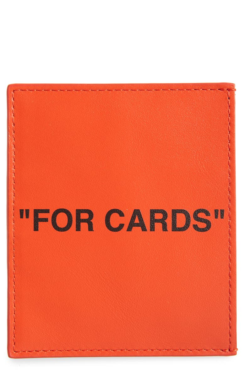 OFF-WHITE Quote Leather Card Holder, Main, color, 800