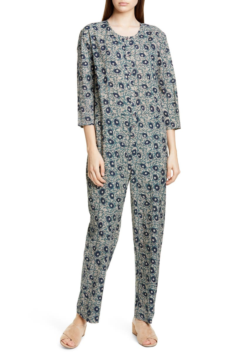 SEA Lucia Floral Print Jumpsuit, Main, color, CLOVER MULTI