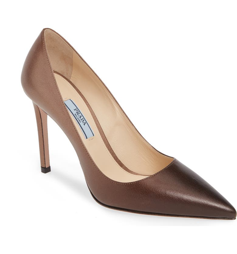 PRADA Ombré Pointy Toe Pump, Main, color, COGNAC OMBRE