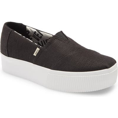 Toms Alpargata Boardwalk Platform Slip-On- Black