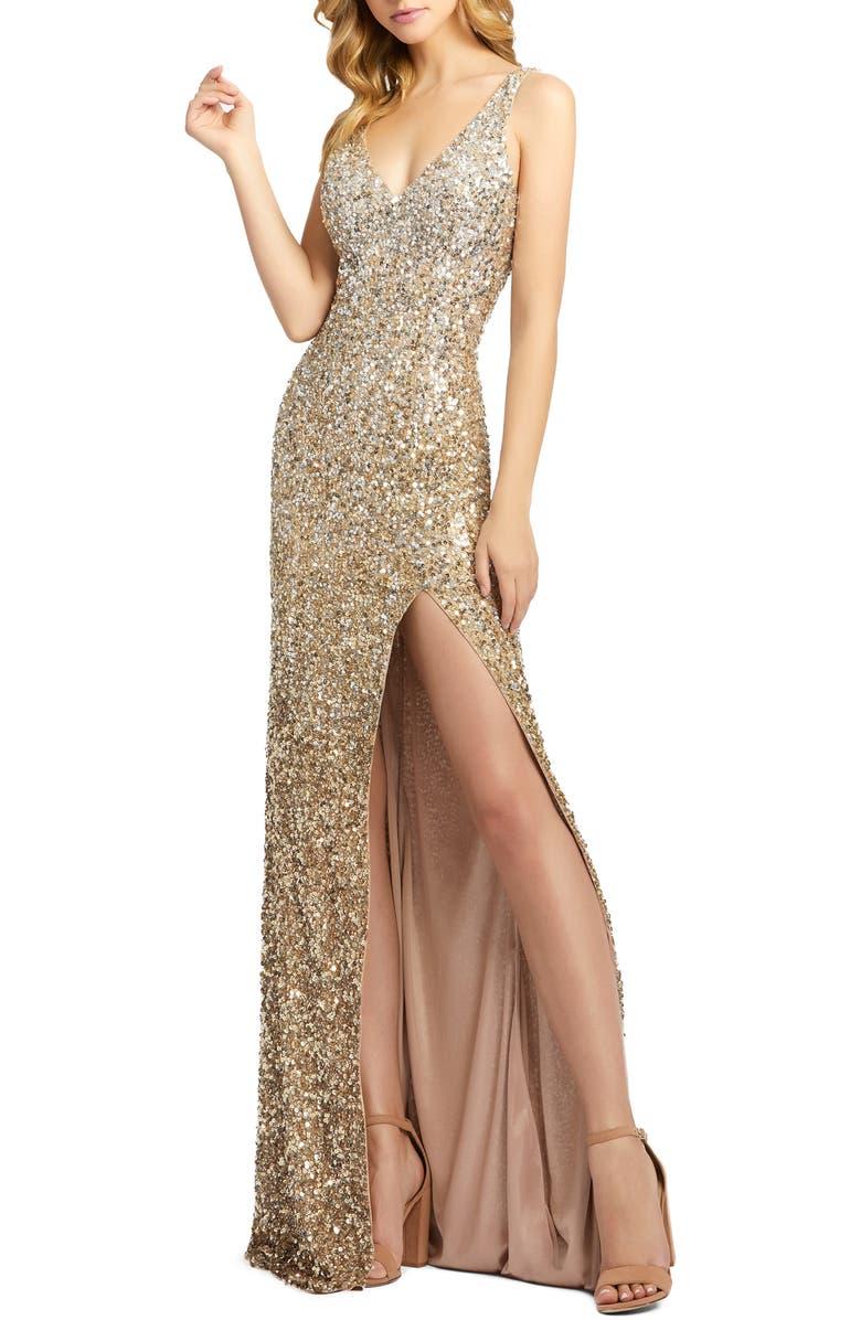 MAC DUGGAL Sequin Slit Gown, Main, color, SHIMMMERING GOLD