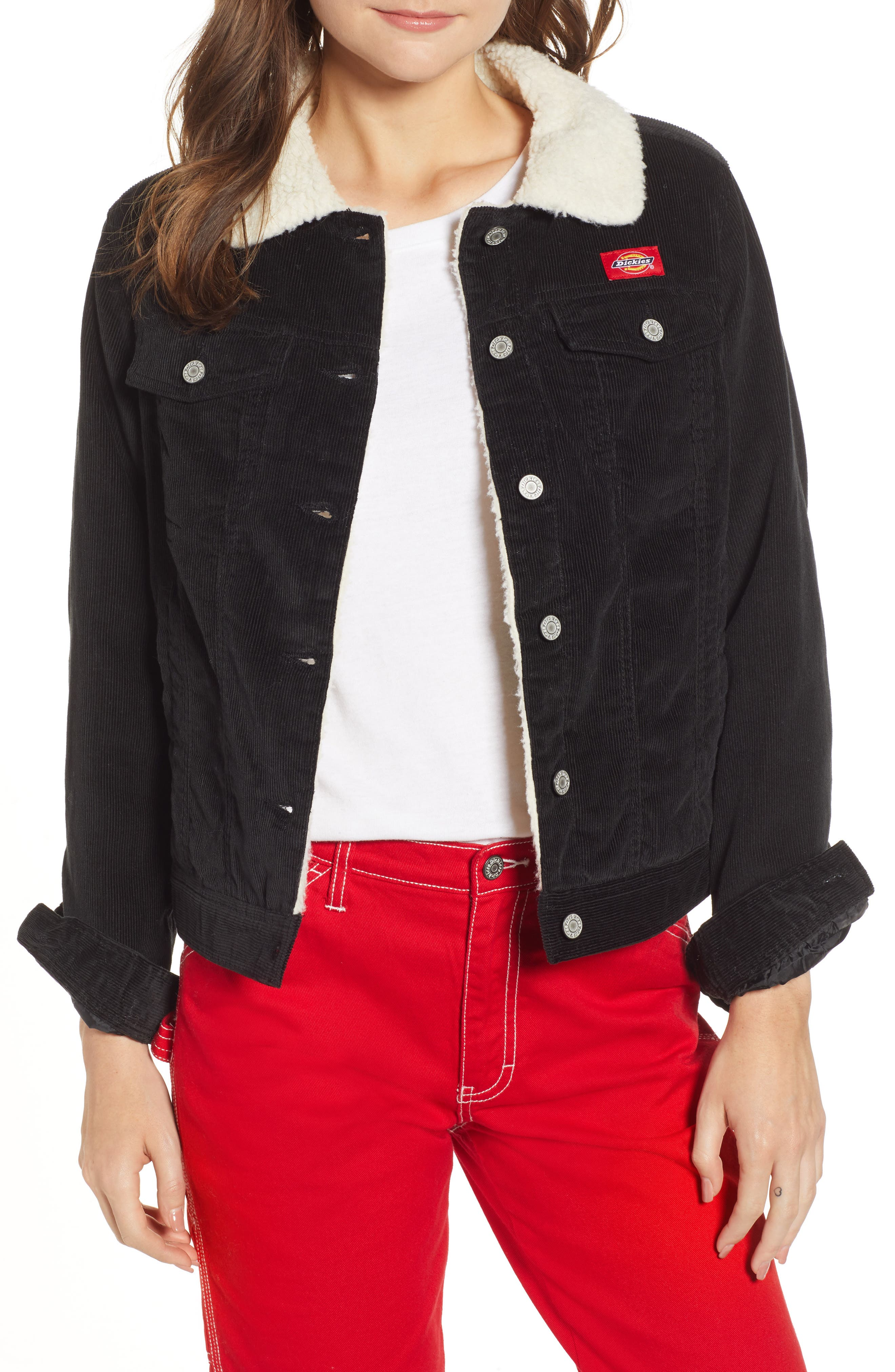 Faux Shearling Lined Corduroy Jacket