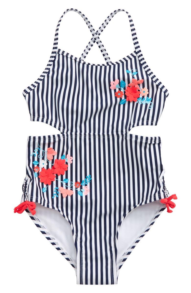 FLAPDOODLES Nautical Stripe Cutout One-Piece Swimsuit, Main, color, 100