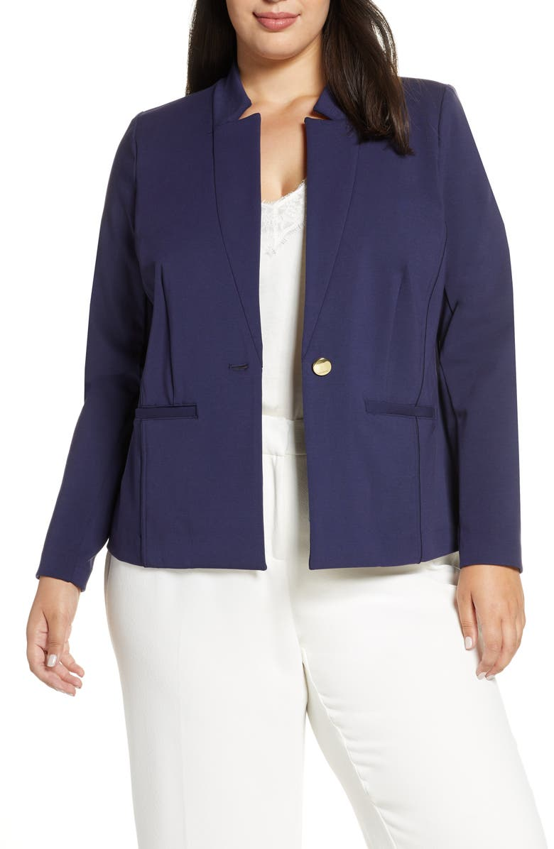 ELOQUII 9-to-5 Stretch Blazer, Main, color, MARATIME BLUE