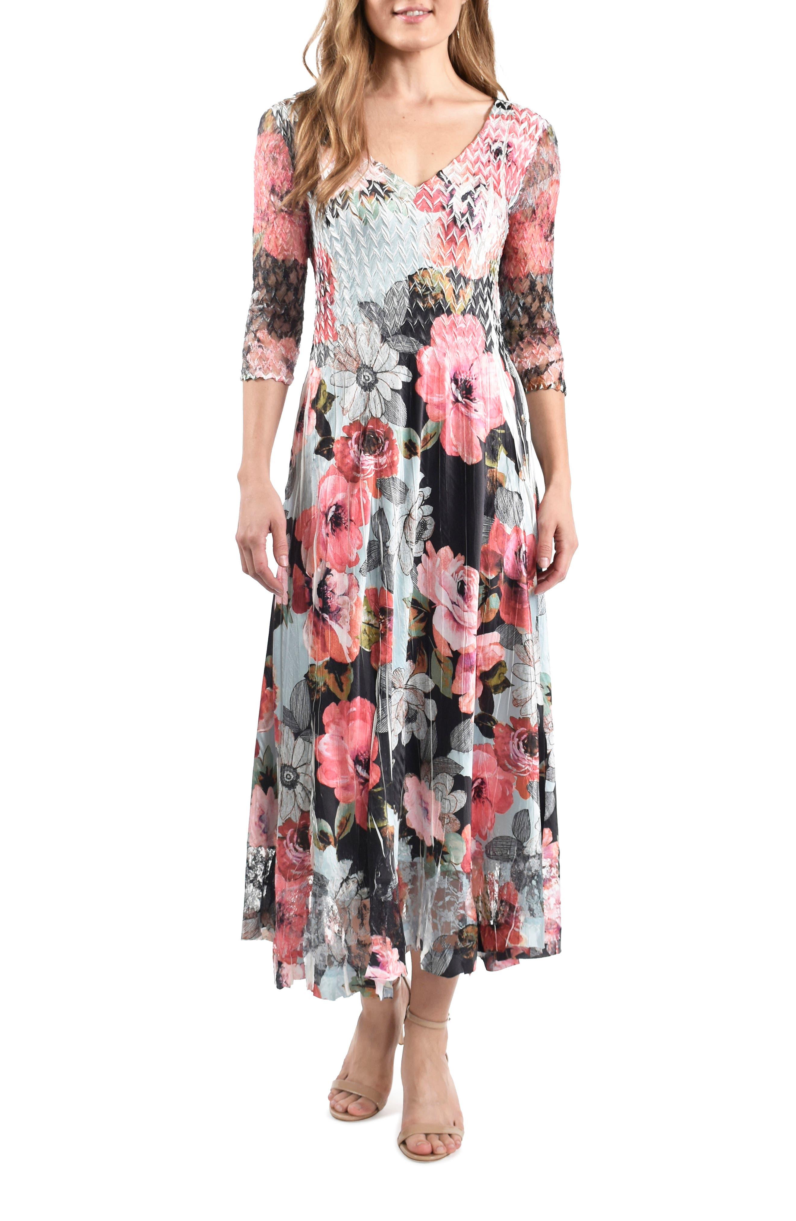 Lace Sleeve Chiffon Midi Dress