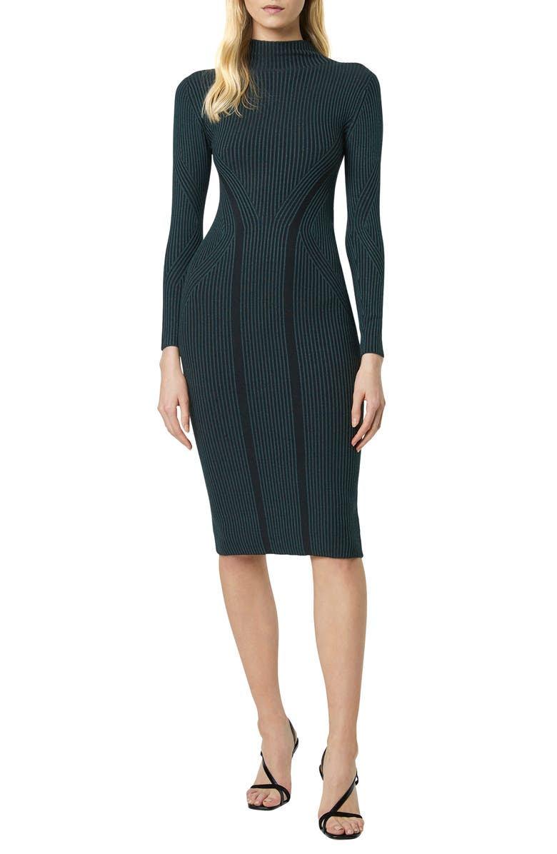 FRENCH CONNECTION Simona Long Sleeve Rib Sweater Dress, Main, color, TWILIGHT GREEN/ BLACK