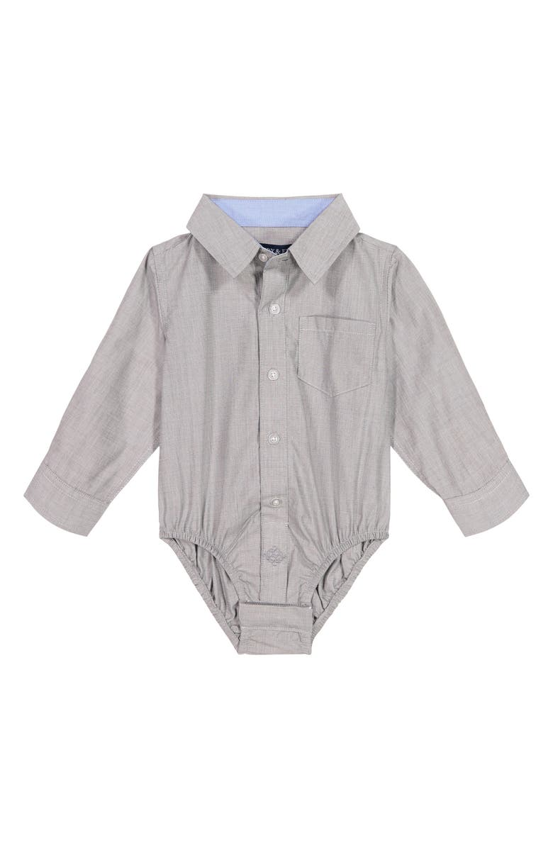 ANDY & EVAN Button-Up Long Sleeve Bodysuit, Main, color, GREY