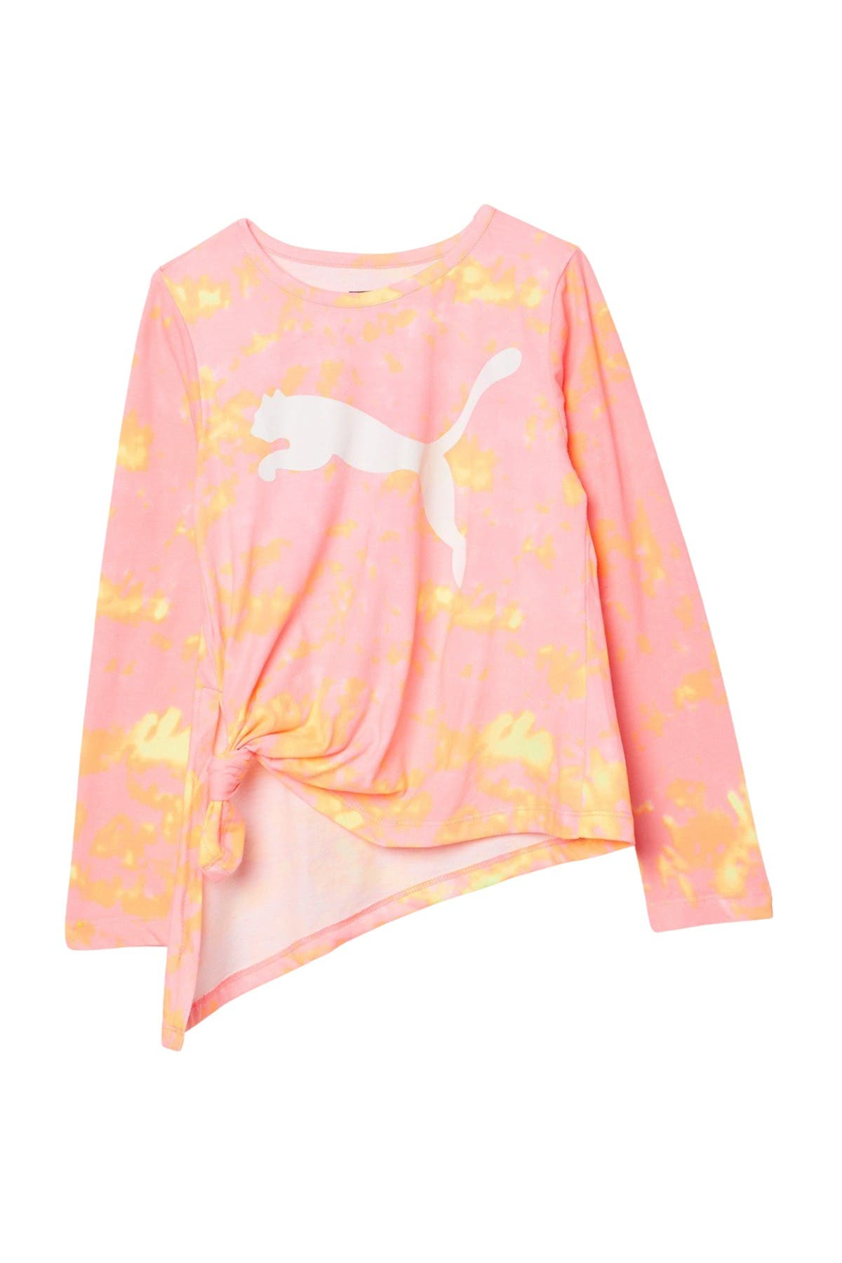 Image of PUMA Long Sleeve Logo Print Knotted Top