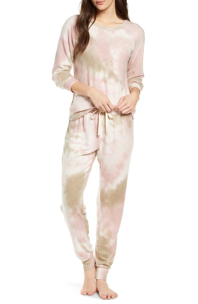 BP. Soft & Cozy Sleepy Pajamas, Main, color, GREY IRON TIE DYE