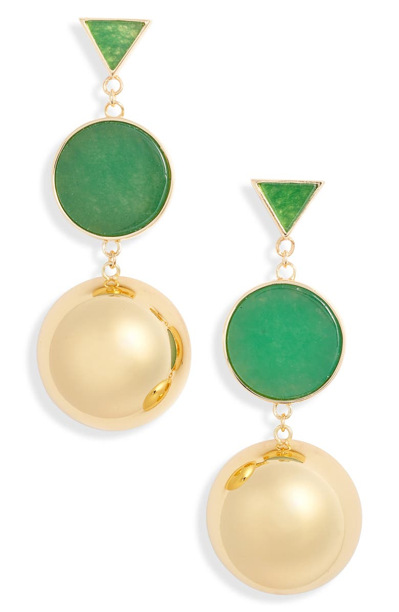 KATE SPADE NEW YORK modern icon double drop earrings, Main, color, GREEN