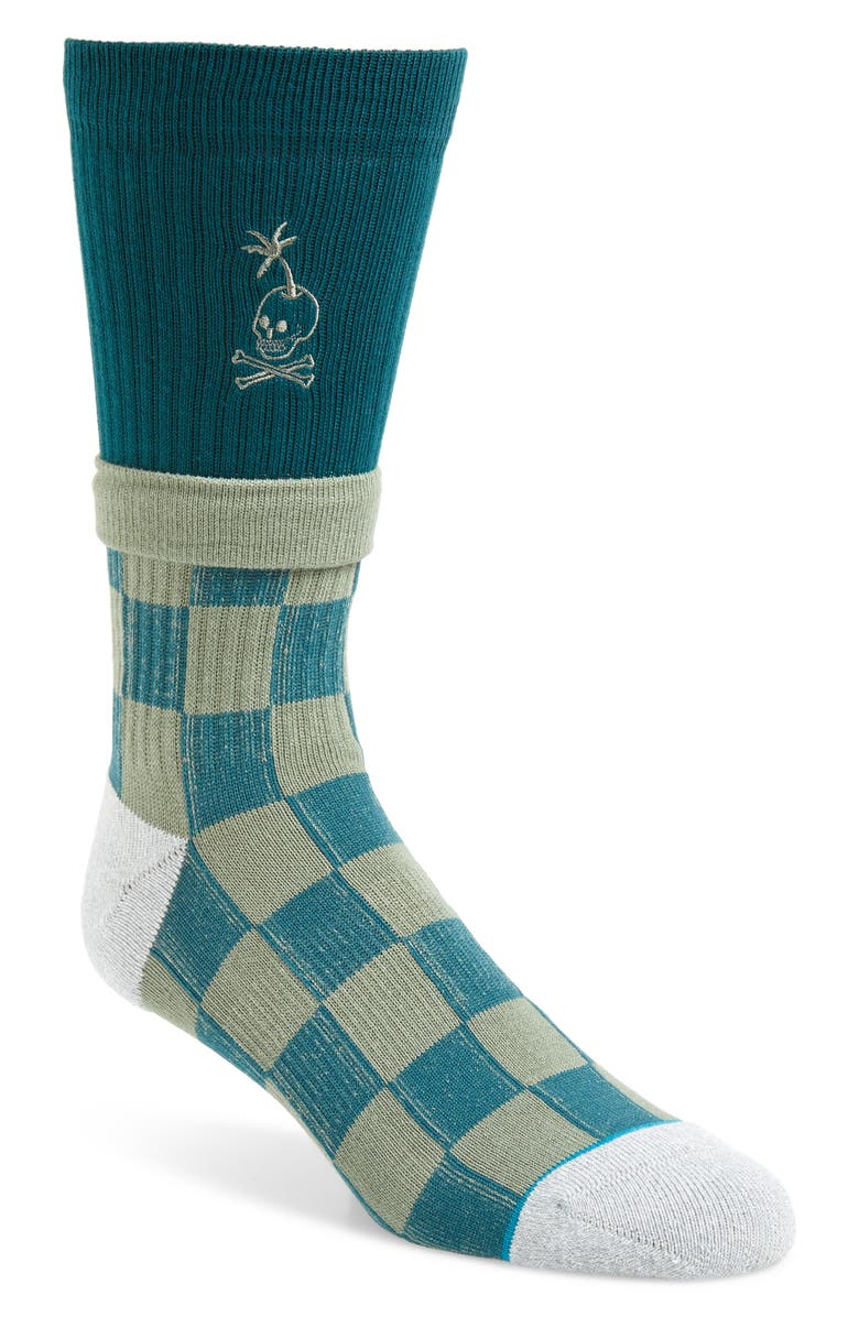 STANCE Stacked Palm Socks, Main, color, GREEN