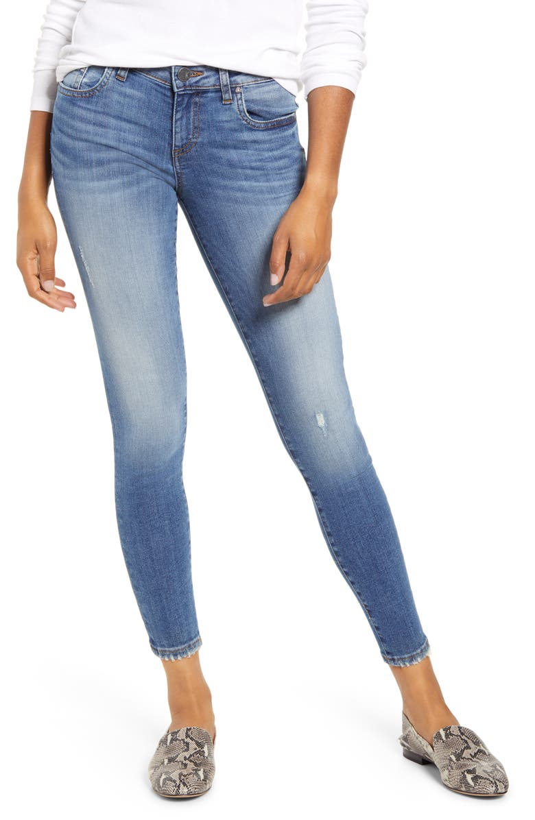 KUT FROM THE KLOTH Donna Distressed Ankle Skinny Jeans, Main, color, CONSCIOUSLY