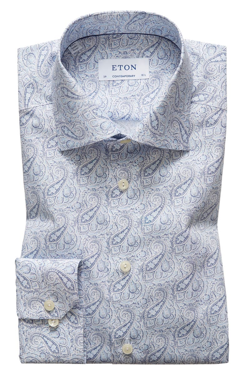 ETON Contemporary Fit Paisley Dress Shirt, Main, color, BLUE