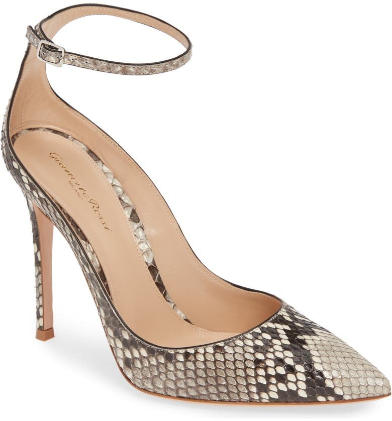 GIANVITO ROSSI Genuine Python Ankle Strap Pump, Main, color, GREY SNAKESKIN
