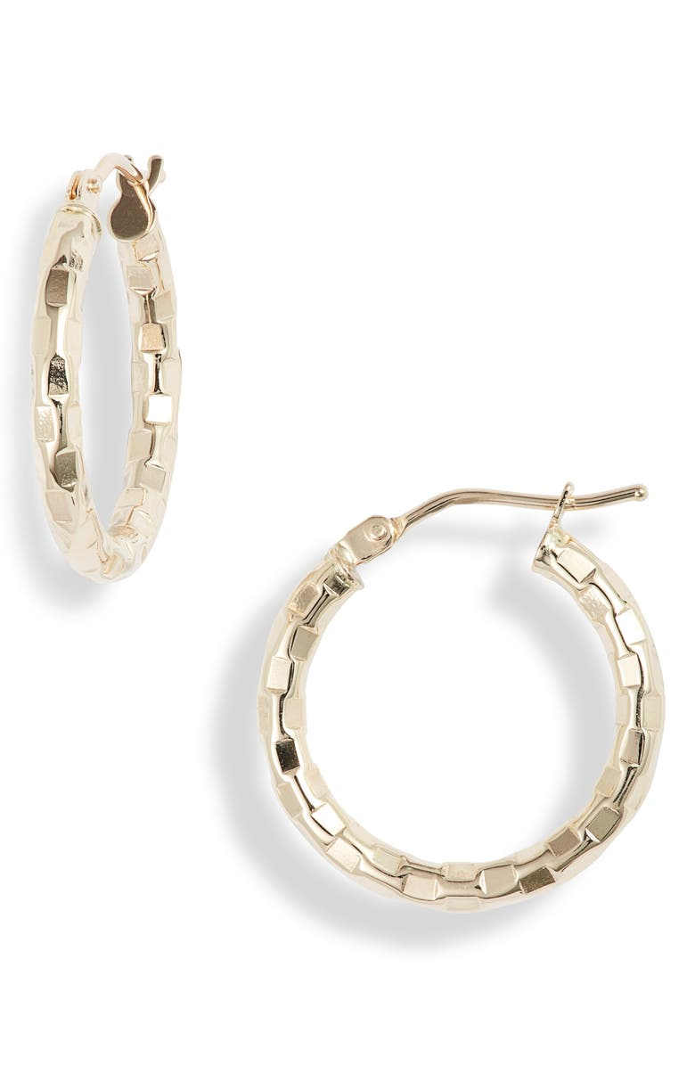 BONY LEVY Hammered 14K Gold Hoops, Main, color, YELLOW GOLD