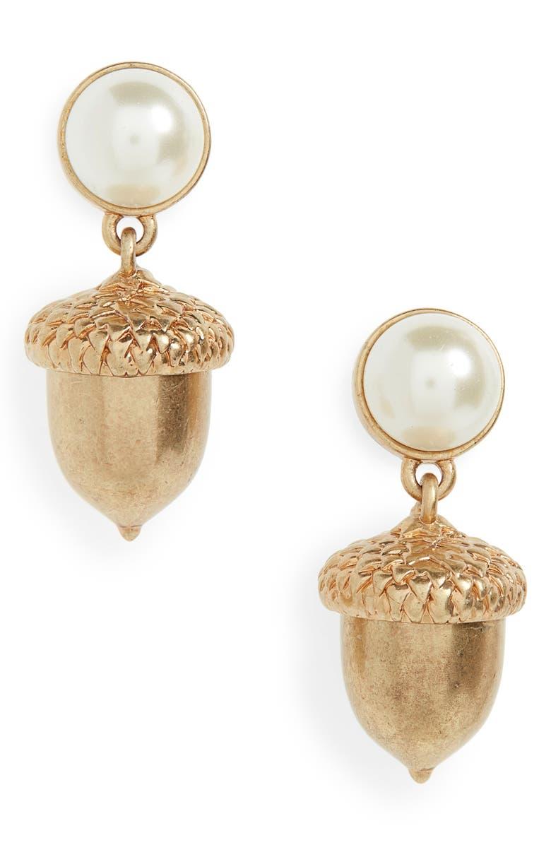 TORY BURCH Acorn Charm Drop Earrings, Main, color, BRASS / PEARL