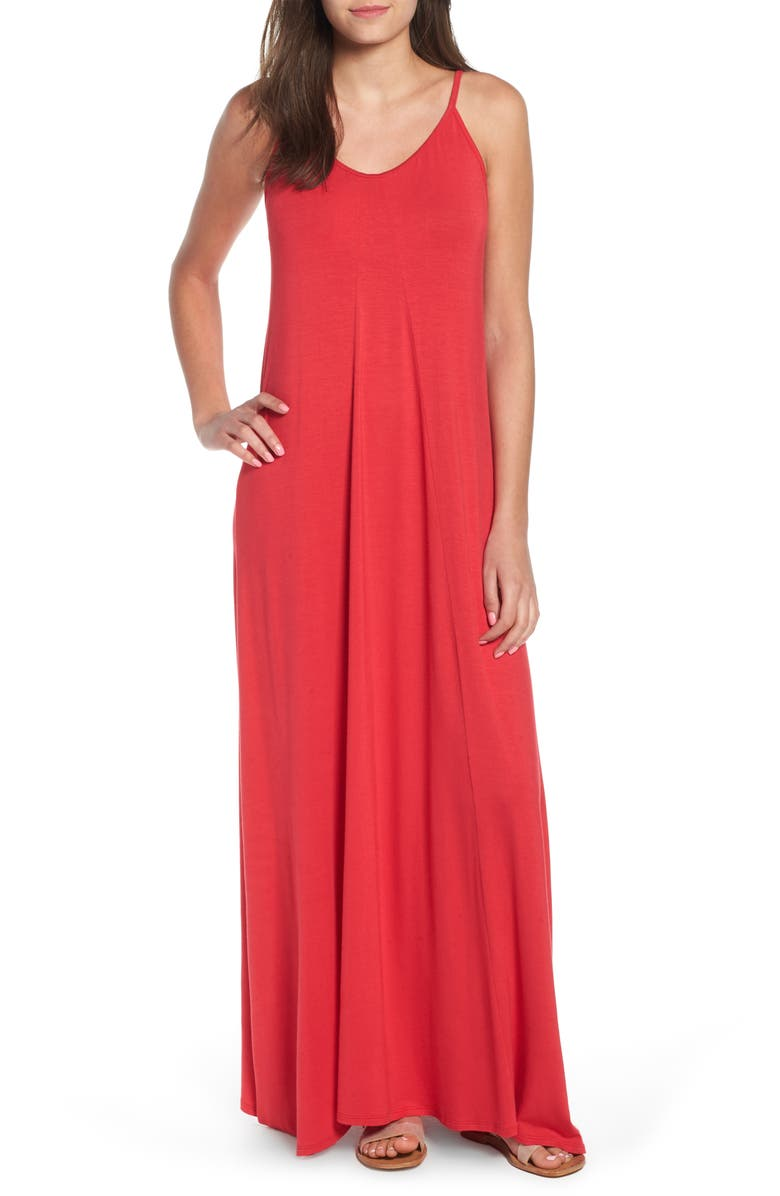 LOVEAPPELLA Maxi Dress, Main, color, RED LIPSTICK