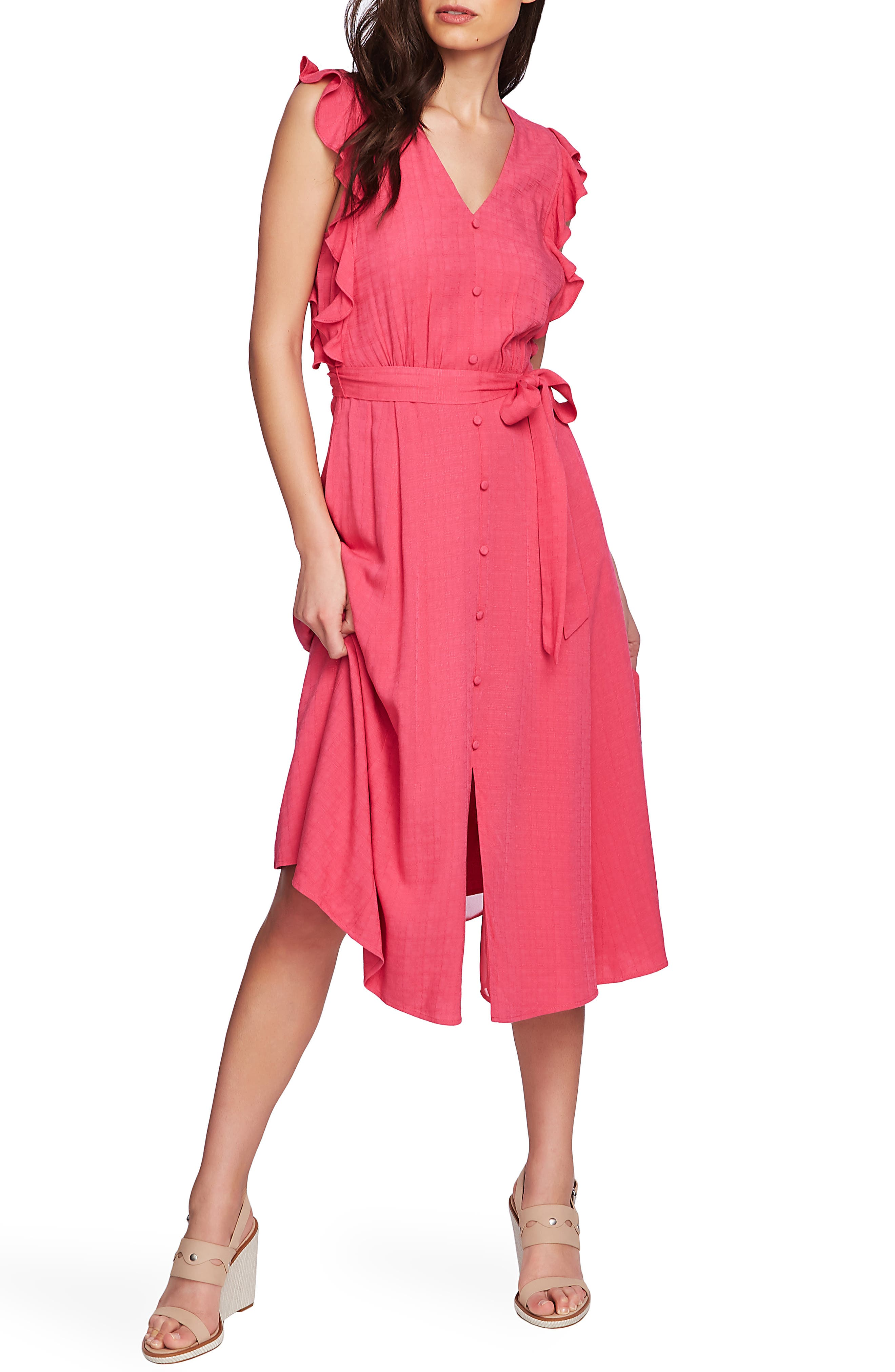 1.state Ruffle Tie Waist Midi Dress