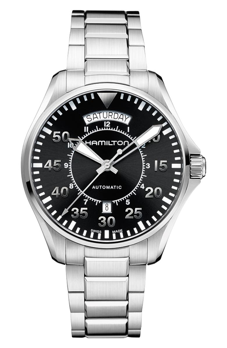 HAMILTON Khaki Aviation Automatic Bracelet Watch, 42mm, Main, color, SILVER/ BLACK/ SILVER