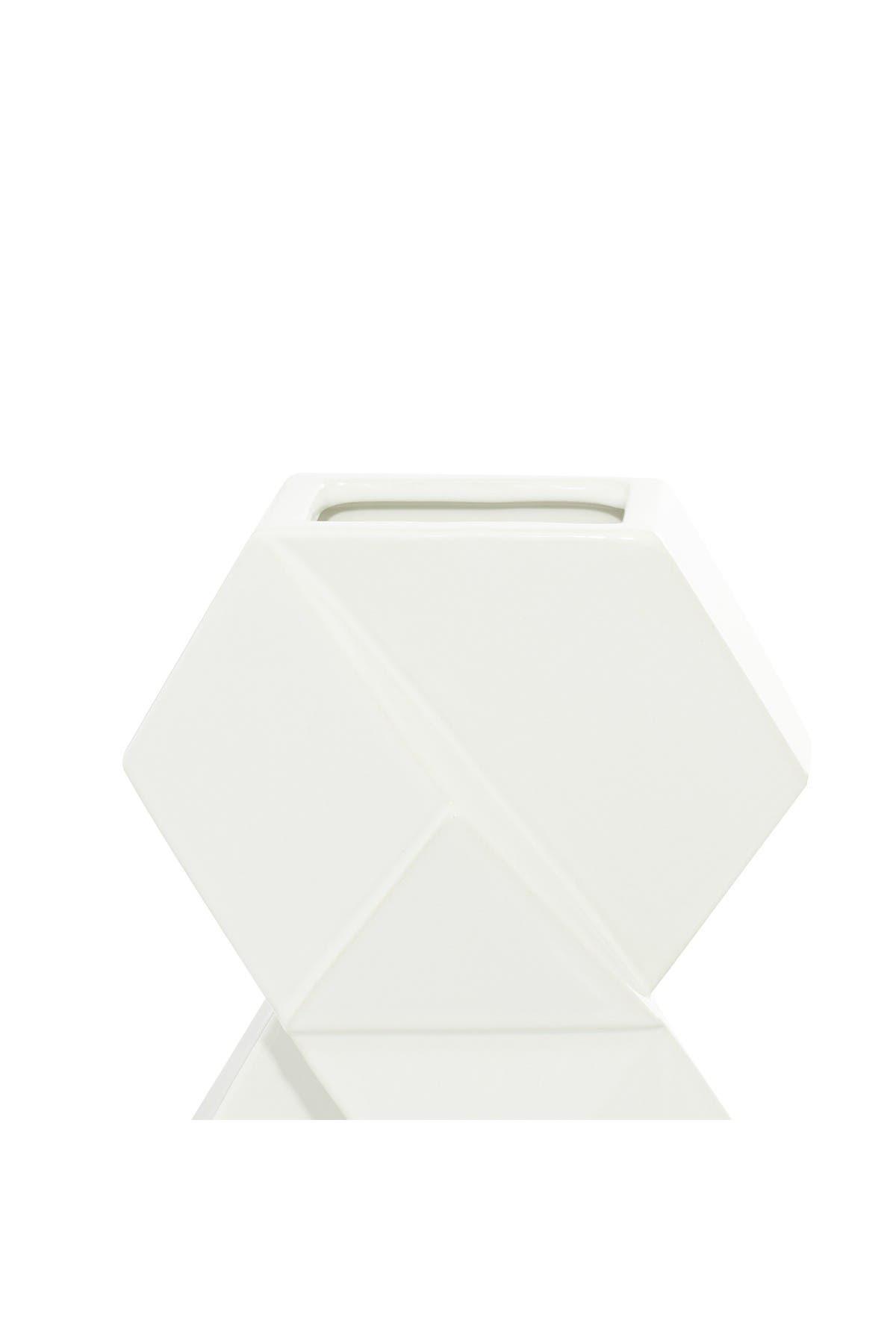 "Image of Willow Row White Ceramic Contemporary Vase - 16"" & 13"" - Set of 2"