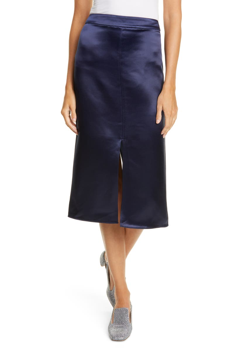 TIBI Satin Pencil Skirt, Main, color, NAVY