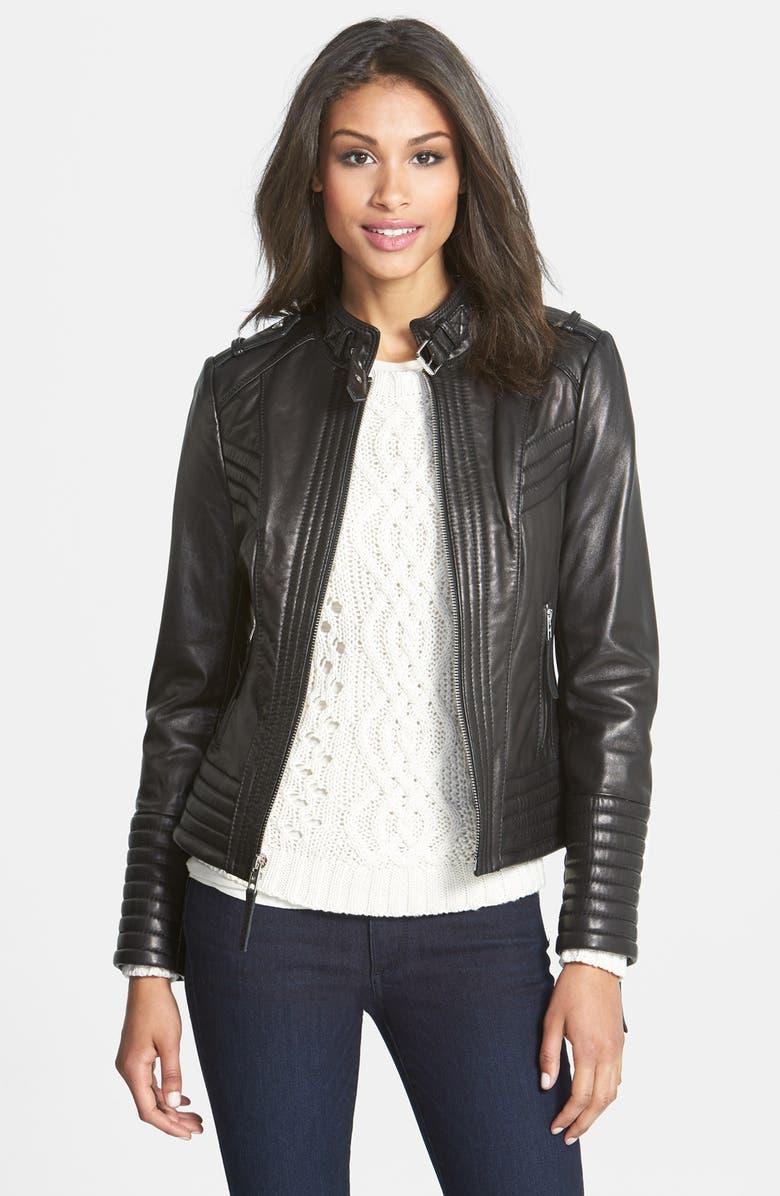 MICHAEL MICHAEL KORS Quilt Detail Leather Jacket, Main, color, 001