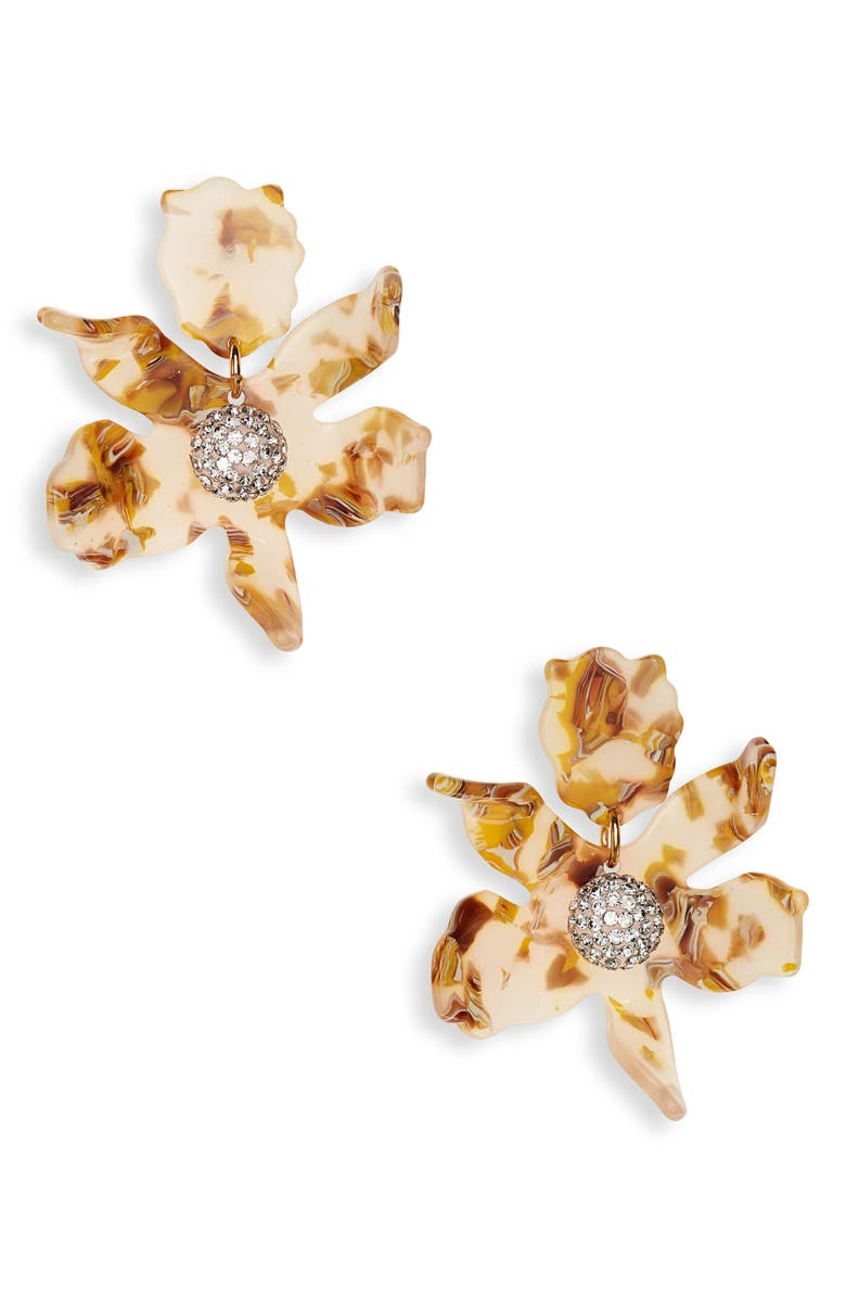LELE SADOUGHI Small Crystal Lily Earrings, Main, color, HONEY