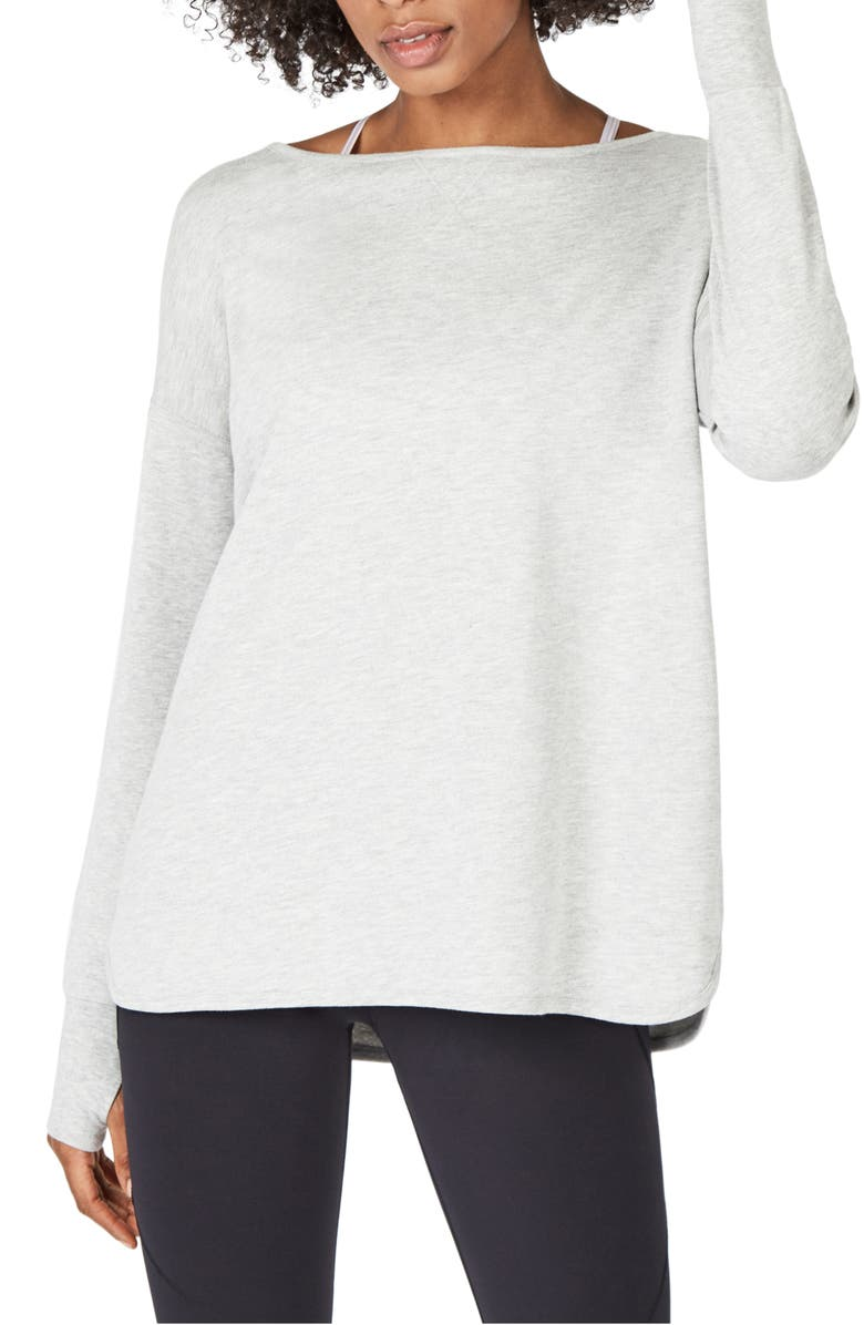 SWEATY BETTY Simhasana Back Cutout Pullover, Main, color, LIGHT GREY MARL