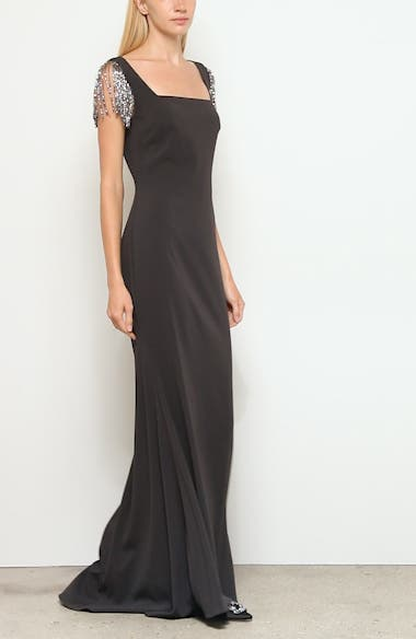 Badgley Mischka Embellished Sleeve Gown, video thumbnail