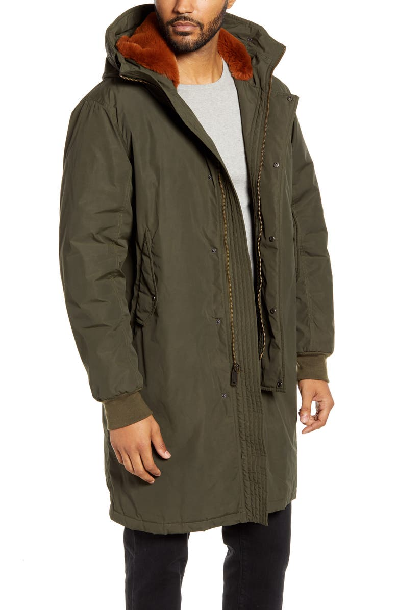 COLE HAAN Tech Down Parka with Faux Fur Trim, Main, color, OLIVE
