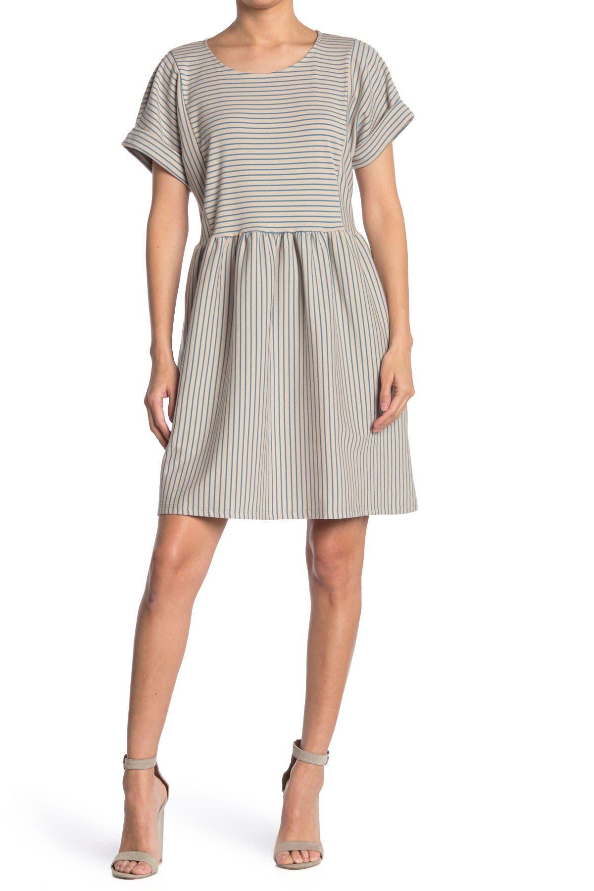 Image of MELLODAY Short Sleeve Stripe Print Knit Mini Dress