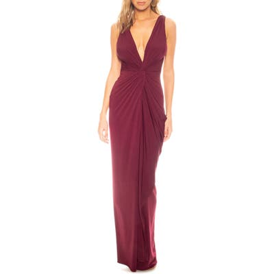 Katie May Leo Twist Front Column Gown, Red