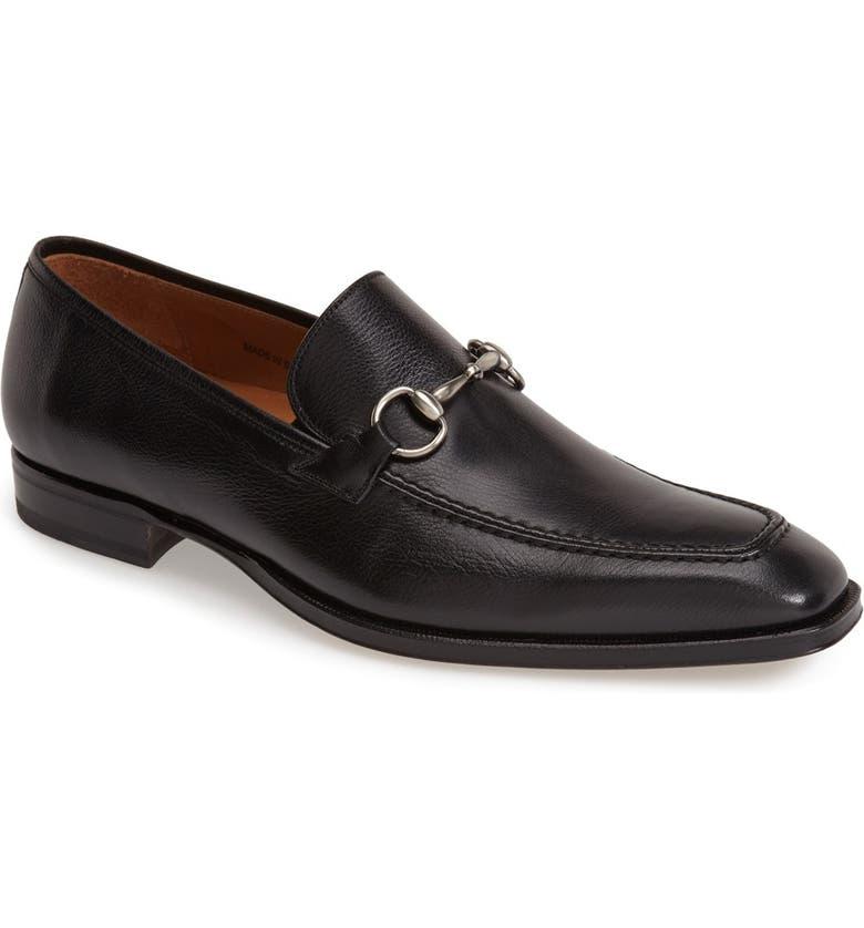 MEZLAN 'Tours' Leather Bit Loafer, Main, color, BLACK