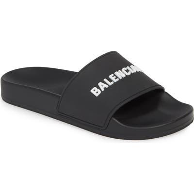 Balenciaga Logo Sport Slide, Black