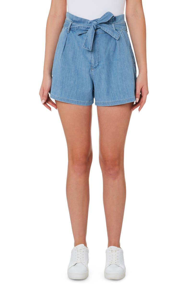 OUTLAND DENIM Goldie High Paperbag Waist Denim Shorts, Main, color, FEATURE