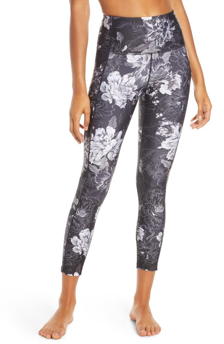 ZELLA Stardust High Waist Pocket 7/8 Leggings, Main, color, BLACK LINEAR FLORAL