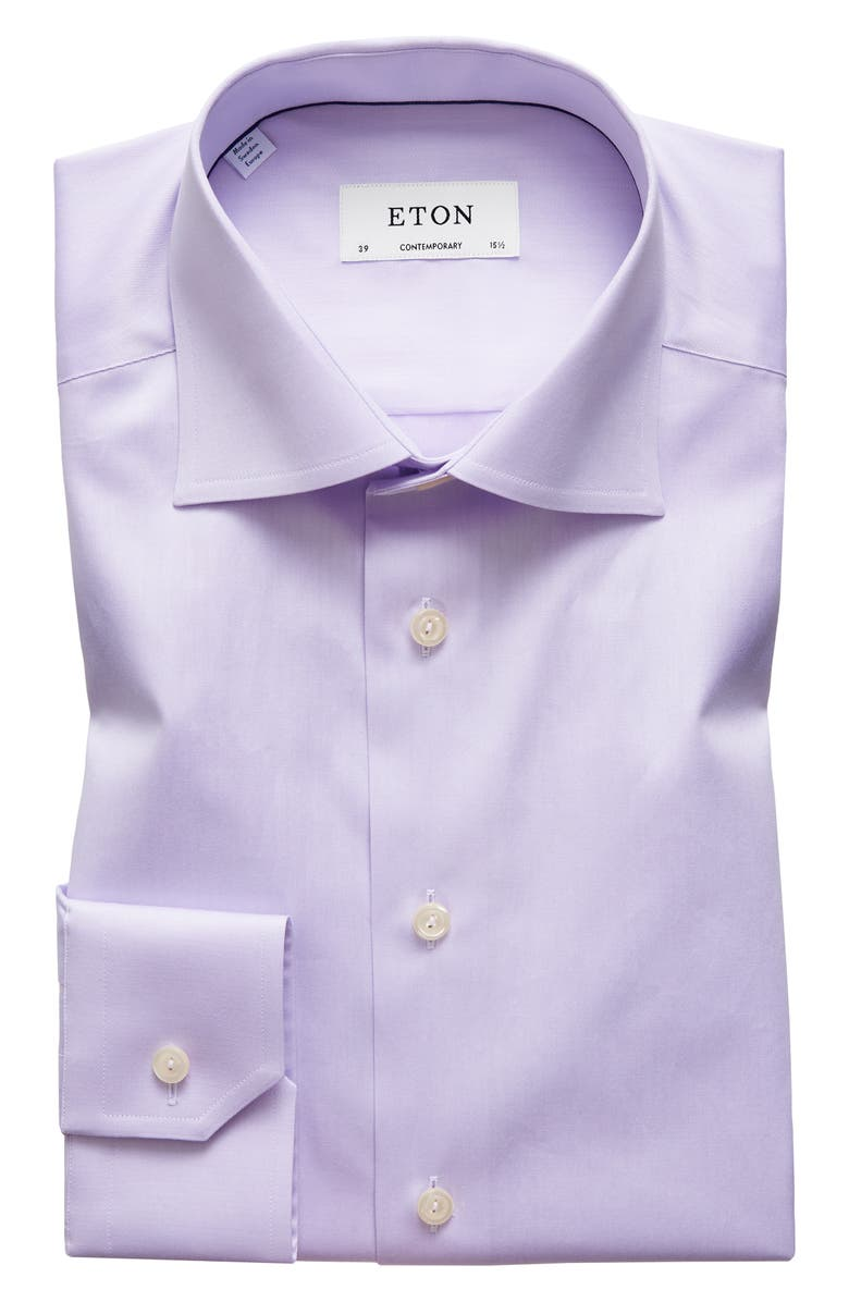 ETON Contemporary Fit Solid Dress Shirt, Main, color, PURPLE