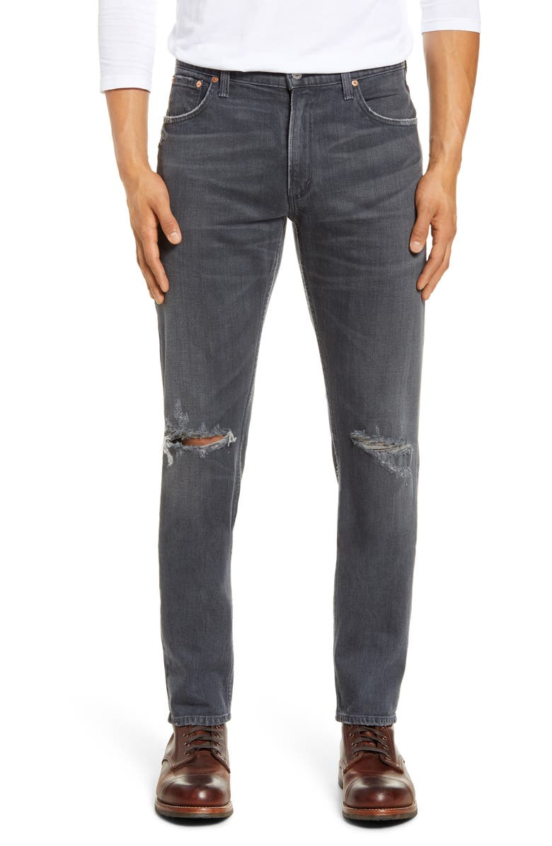 CITIZENS OF HUMANITY Bowery Slim Fit Ripped Jeans, Main, color, DARK SEA
