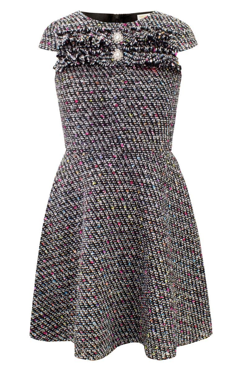 DAVID CHARLES Ruffle Fit & Flare Tweed Dress, Main, color, 001