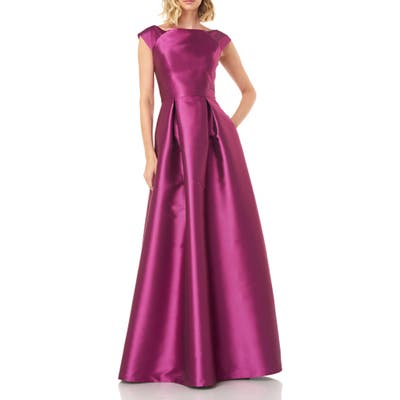 Kay Unger Addison Pleat Mikado Gown, Pink