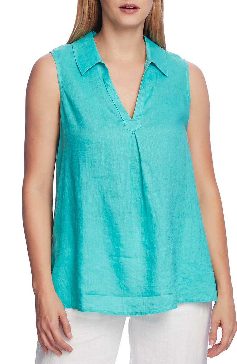VINCE CAMUTO Split Neck Sleeveless Linen Top, Main, color, OCEAN WAVE