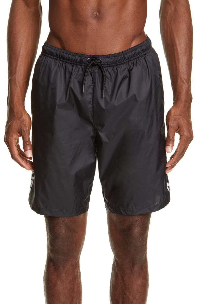 MARCELO BURLON Escape Board Shorts, Main, color, BLACK WHITE