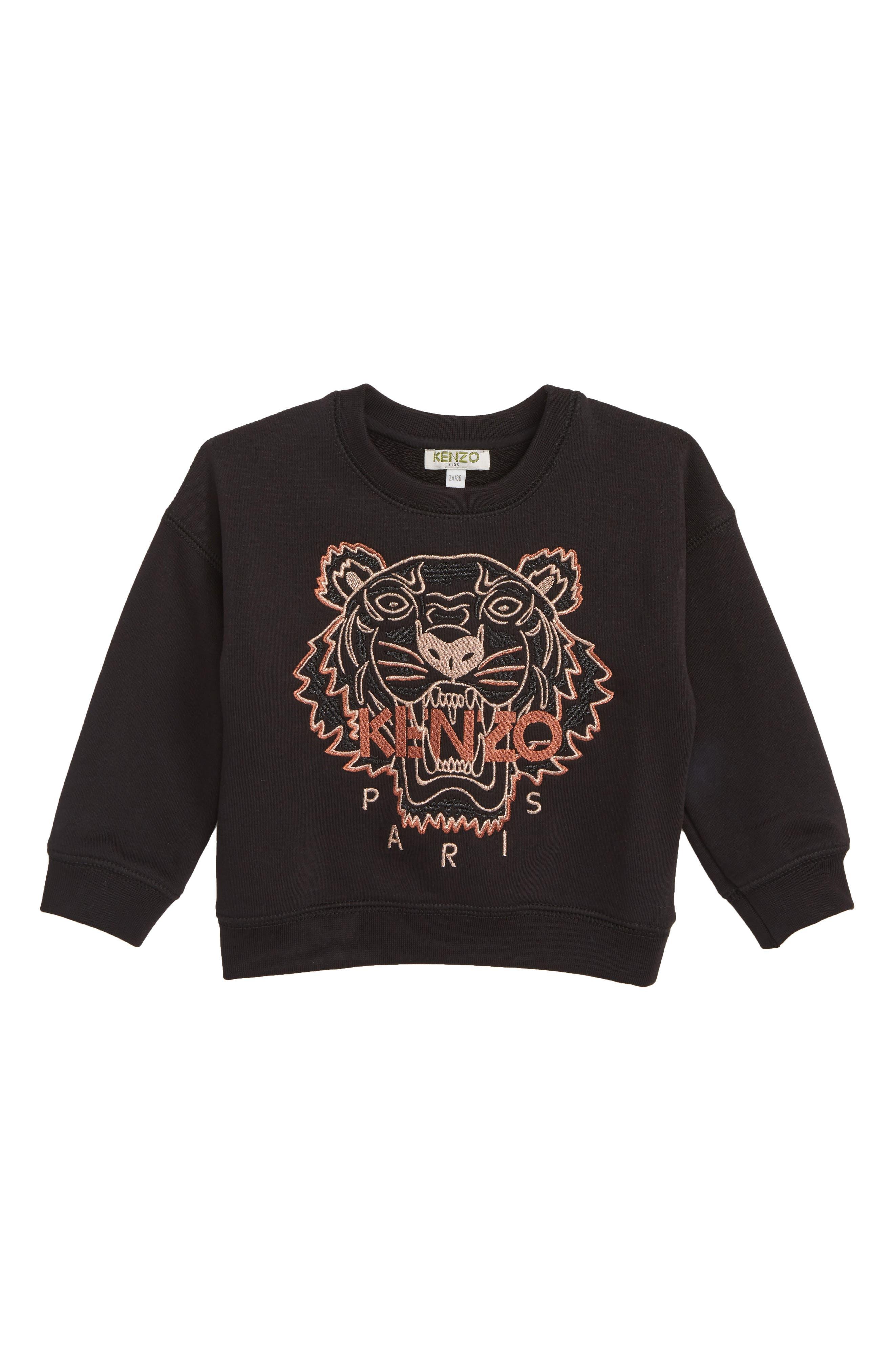 ,                             Tiger Embroidered Sweatshirt,                             Main thumbnail 1, color,                             BLACK
