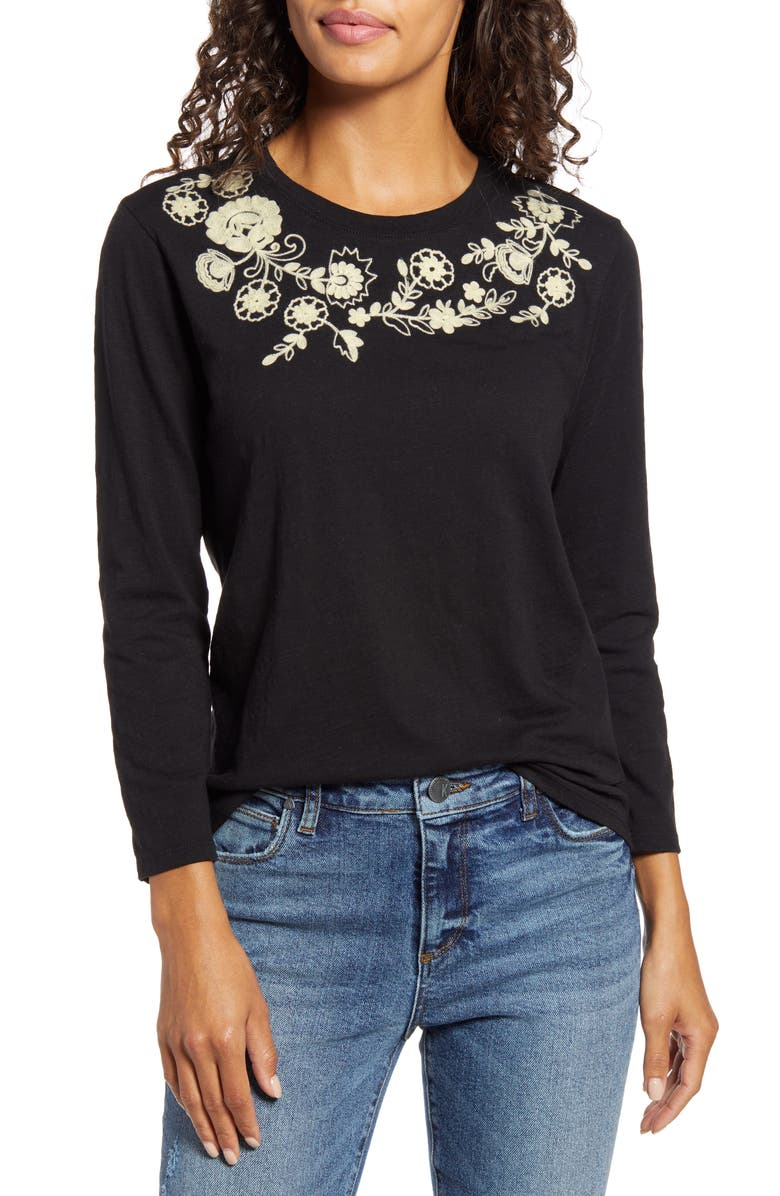 LUCKY BRAND Embroidered Garland Tee, Main, color, 001