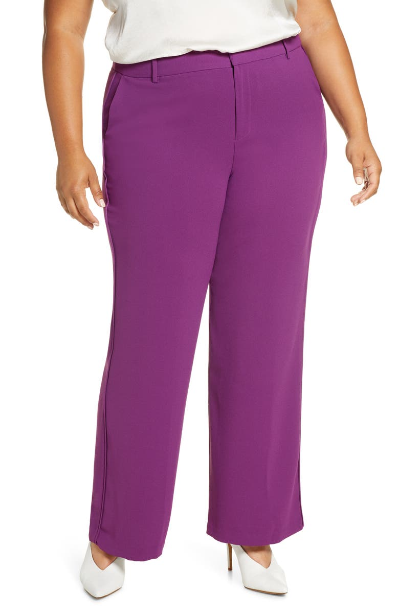 ELOQUII Flare Leg Pants, Main, color, GRAPE JUICE