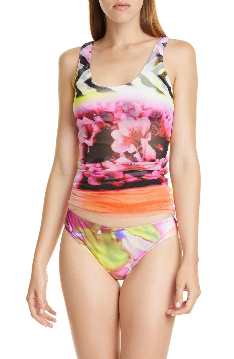 FUZZI Floral Print Tulle Two-Piece Tankini Swimsuit, Main, color, FIORE