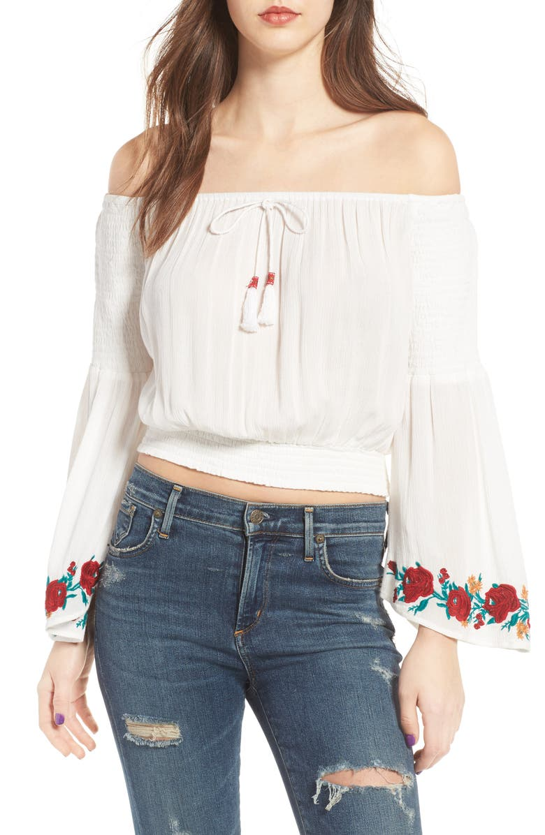 BAND OF GYPSIES Embroidered Off-the-Shoulder Crop Top, Main, color, 112