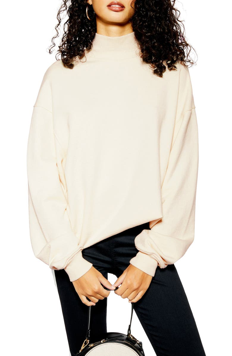 TOPSHOP Oversized Mock Neck Sweatshirt, Main, color, 900