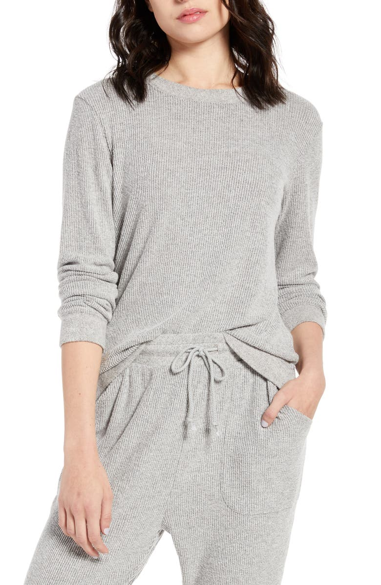BP. x Claudia Sulewski Sleepy Lounge Pullover, Main, color, GREY PEARL MARL