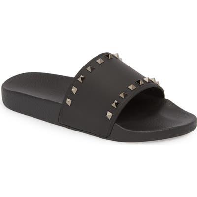 Valentino Garavani Rockstud Slide Sandal, Black